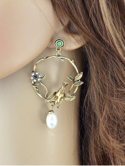 affordable Faux Pearl Flower Leaf Earrings - GOLDEN  Mobile
