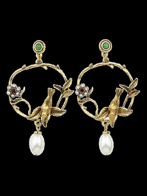 Boucles d'oreilles décorées de feuilles, de fleurs et de perles artificielles - Or  Mobile