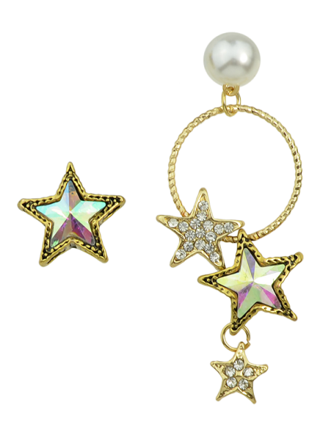 ladies Faux Pearl Asymmetric Star Earrings - GOLDEN  Mobile