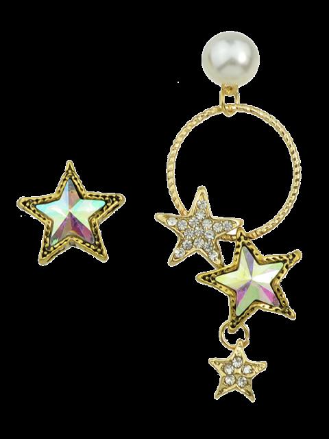 Faux Perle Asymmetrische Stern Ohrringe - Golden  Mobile