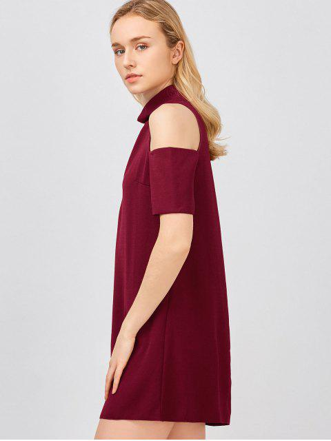 womens Cold Shoulder Cut Out Trapeze Dress - WINE RED M Mobile