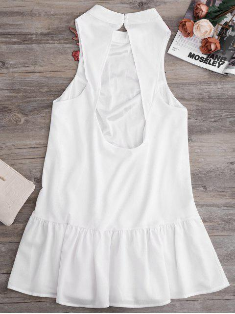 womens Patches Frill Hem Mini Dress - WHITE S Mobile