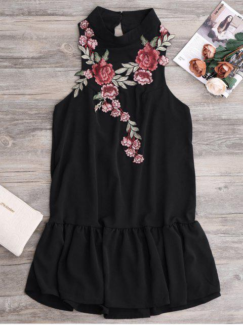 lady Patches Frill Hem Mini Dress - BLACK S Mobile