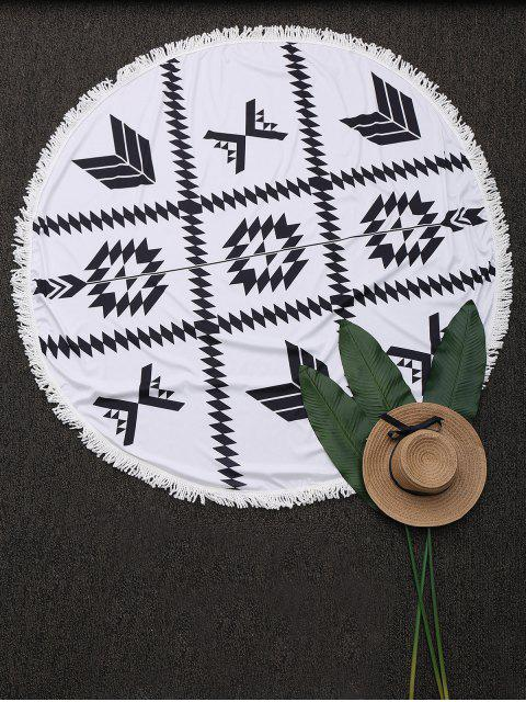 sale Round Fringed Geometric Beach Throw - WHITE ONE SIZE Mobile