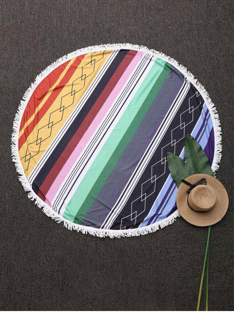 affordable Round Geometric Beach Throw With Tassels - BLUE ONE SIZE Mobile