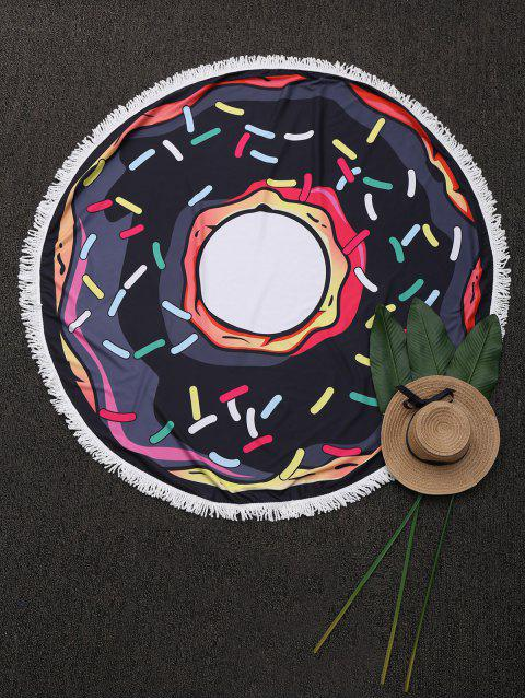 buy Round Cartoon Fringed Beach Throw - BLACK ONE SIZE Mobile