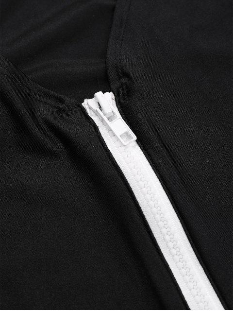 online Zipper High Leg One Piece Swimsuit - BLACK M Mobile