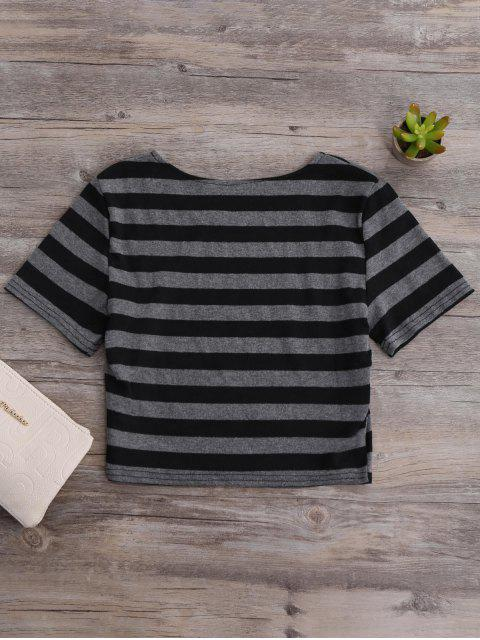 unique Fitted Striped Crop Top - BLACK AND GREY M Mobile