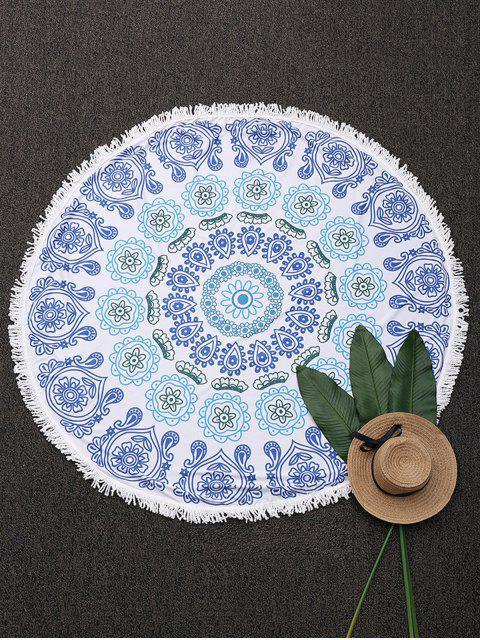 Couverture de plage ronde frangée imprimée mandala - Bleu  Mobile
