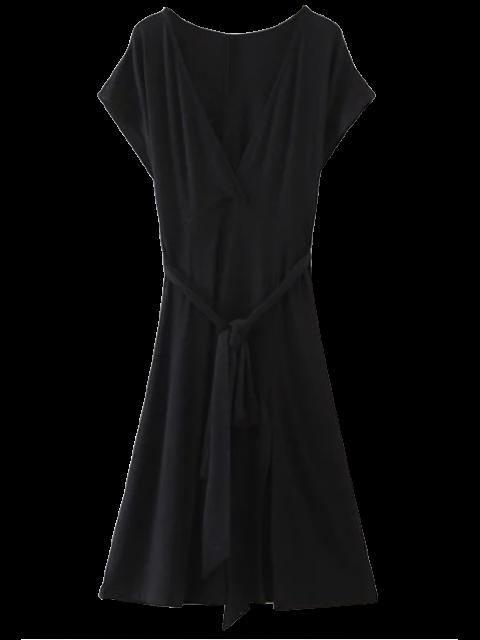 chic Belted Plunging Neck Slit Dress - BLACK S Mobile