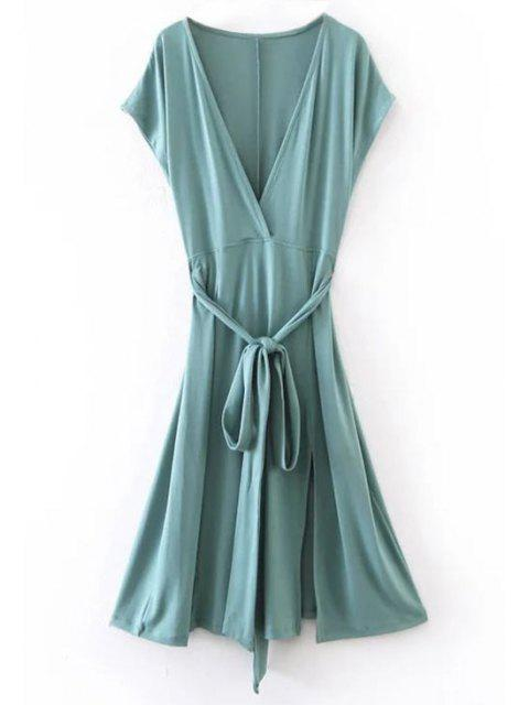 unique Belted Plunging Neck Slit Dress - BLUE GREEN M Mobile
