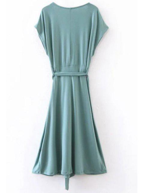 fancy Belted Plunging Neck Slit Dress - BLUE GREEN L Mobile