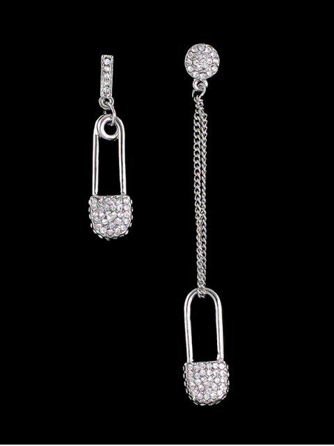 Boucles d'oreilles asymétriques à pendants serrure de strass - Argent  Mobile