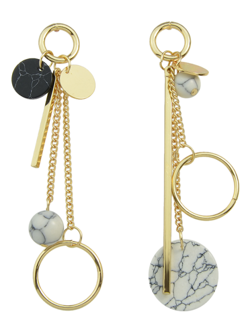 lady Circle Ball Bar Disc Asymmetric Earrings - GOLDEN  Mobile