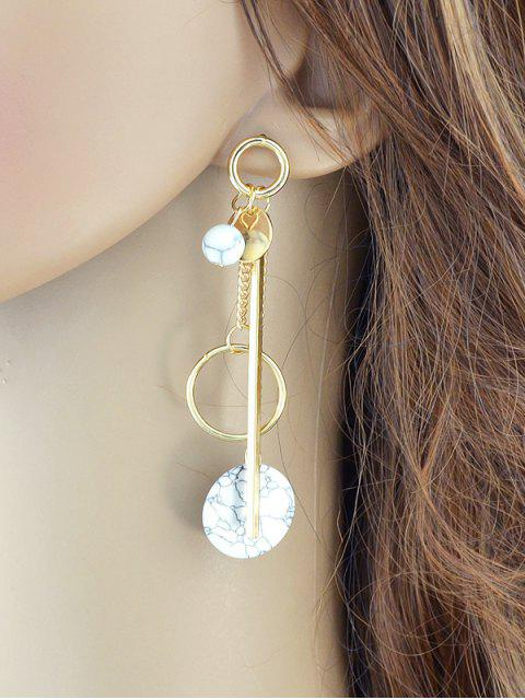 Boucles d'oreilles asymétriques en barres de chaînes et de cercles - Or  Mobile