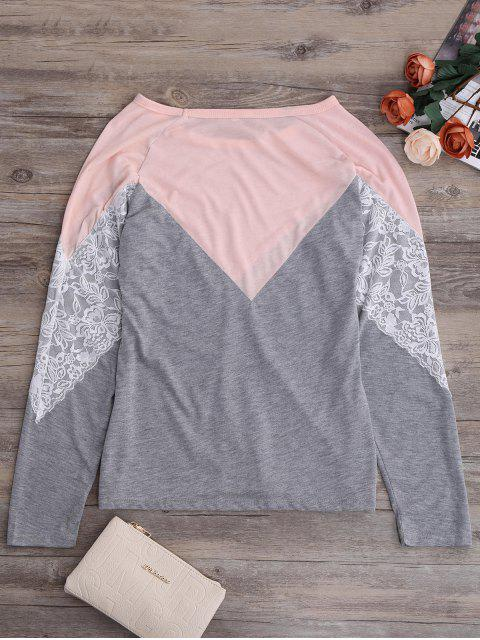 chic Long Sleeves Chevron Panel Tee - GRAY XL Mobile