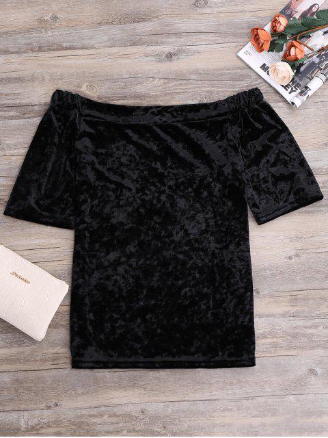 trendy Crushed Velvet Off The Shoulder Top - BLACK M Mobile