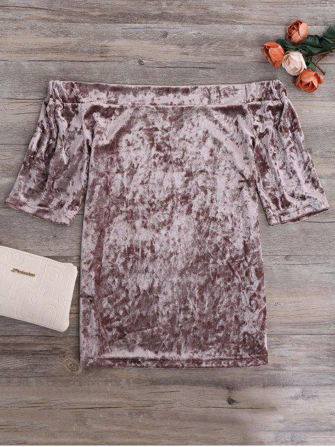 unique Crushed Velvet Off The Shoulder Top - TAUPE M Mobile