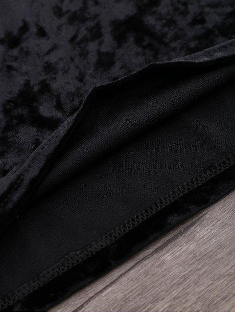 Haut en velours écrasé à épaules dégagées - Noir S Mobile