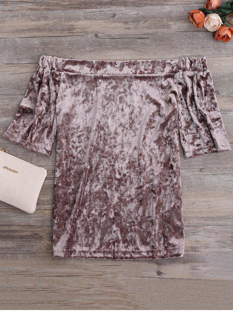 sale Crushed Velvet Off The Shoulder Top - TAUPE L Mobile