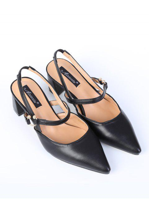 women's Pointed Toe Chunky Heel Slingback Pumps - BLACK 37 Mobile