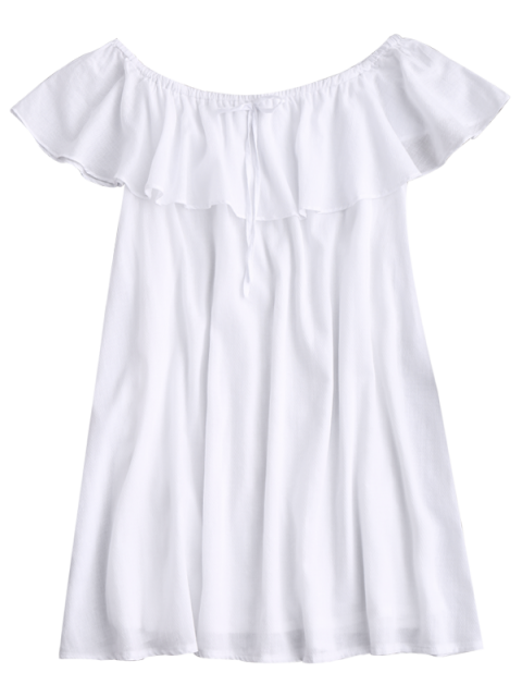 women Frilly Off The Shoulder Dress - WHITE S Mobile