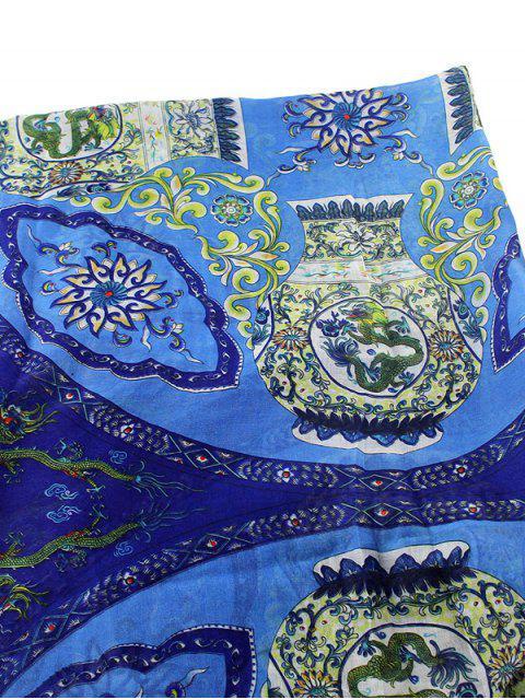 outfits Tassel Flower Porcelain Print Scarf - BLUE  Mobile