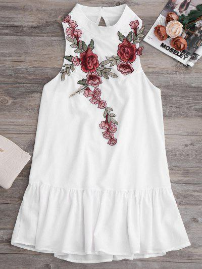Patches Frill Hem Mini Dress - White S