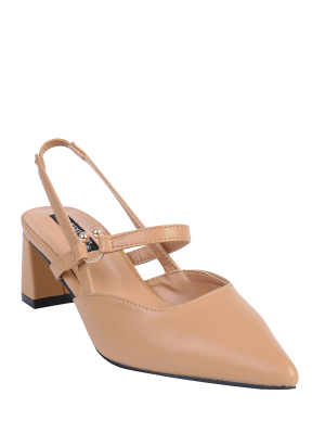 Pointed Toe Chunky Heel Slingback Pumps - Apricot 38