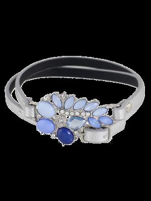 Bracelet En Faux Cuir Avec Pierress Artificielles - Argent