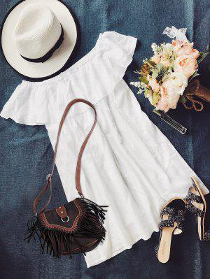 Frilly Off The Shoulder Dress - White S
