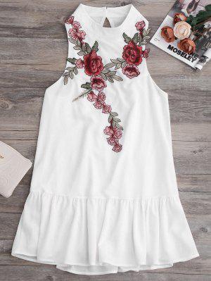 Patches Frill Hem Mini Dress - White L
