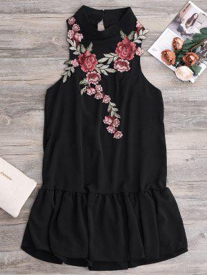 Patches Frill Hem Mini Dress - Black L