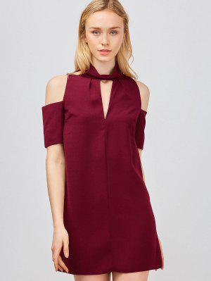 Cold Shoulder Cut Out Trapeze Dress - Rouge Vineux  M
