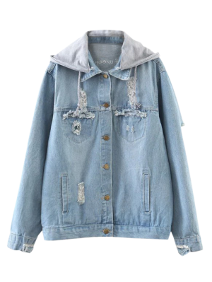 Embroidered Ripped Denim Jacket With Hoodie - Denim Blue M