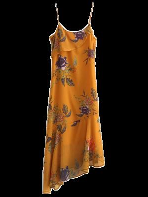 Floral Asymmetric Slip Dress - Amarillo Profundo M
