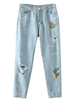 Cereus Embroidered Ripped Jeans - Light Blue M
