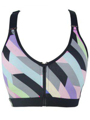 Zipper Colorful Print Sport Bra