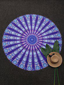 Round Mandala Print Beach Throw - Purple