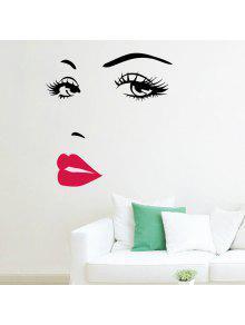 أحمر الشفاه الجمال نمط الفينيل الجدار ملصق - أبيض