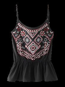 Camiseta Bordada De Peplum - Negro M