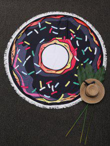 Round Cartoon Fringed Beach Throw - Black