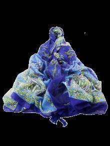 شرابة زهرة الخزف طباعة وشاح - أزرق