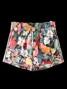 Button Embellished Tropical Floral Shorts - Floral M