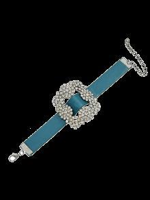 Rhinestone Faux Leather Flower Bracelet - Blue