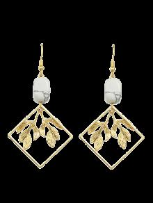 Artificial Rammel Geometric Leaf Earrings - Golden