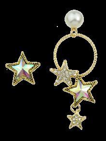 Faux Pearl Asymmetric Star Earrings - Golden