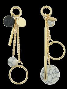 Circle Ball Bar Disc Asymmetric Earrings - Golden