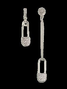 Rhinestone Love Lock Asymmetric Earrings - Silver