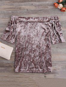 Crushed Velvet Off The Shoulder Top - Taupe S